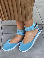 Босоножки женские замшевые голубые на низком ходу, 37 размер, фото 1