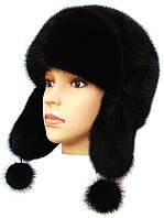Зимняя шапка ушанка женская   Цвет черный