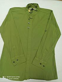 Рубашка подростковая нарядная красивая цвета хаки для мальчика. Размеры 140.146.152.158.164.Ворот- стойка.