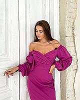 Яскраве плаття футляр з об'ємними рукавами