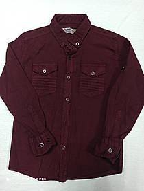 Рубашка стрейчивая красивая нарядная бордового цвета для мальчика . Размеры 110.116.122.128.134.Ворот-стойка.
