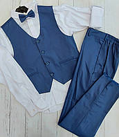 Підлітковий шкільний костюм ДЖЕНТЕЛЬМЕН для хлопчика 9-12 років,білий з синім