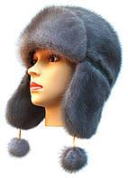 Красивая шапка ушанка женская   Цвет  светло голубой