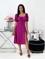 Женское платье миди с разрезом и пышными рукавами, фото 1