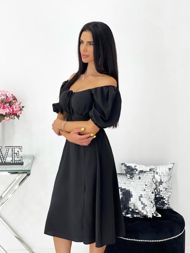 Женское платье миди с разрезом и пышными рукавами
