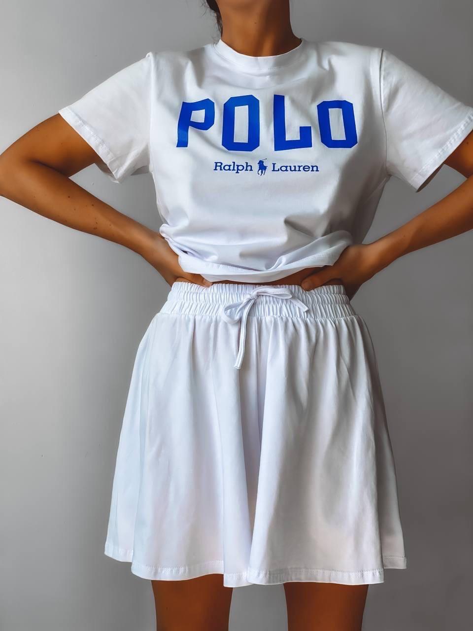 Летний женский белый свободный костюм шорты с футболкой