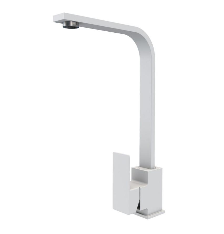 Квадратный Г-образный гранитный белый смеситель для гранитной кухонной мойки AQUAMARIN BLADE 360 WH