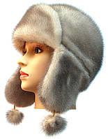 Зимняя шапка ушанка женская   Цвет колотый лед
