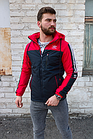 Мужская утеплённая ветровка Adidas красная