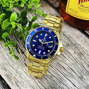 Стильні наручний годинник Rolex Submariner 2128 Quarts Gold-Blue