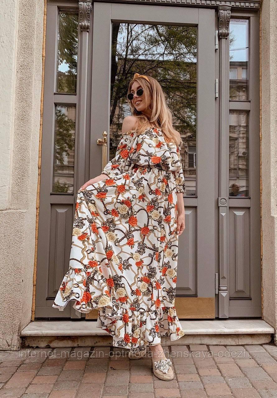 Шикарное красивое летнее платье с открытыми плечами с цветочным принтом, нарядная повседневная одежда на лето