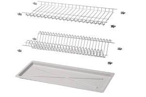 Сушка для посуду 800 мм Білий (2 полиці, 1 піддон і 8 кріплень) 08376