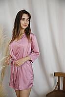 Шелковый халат с пижамой розового цвета