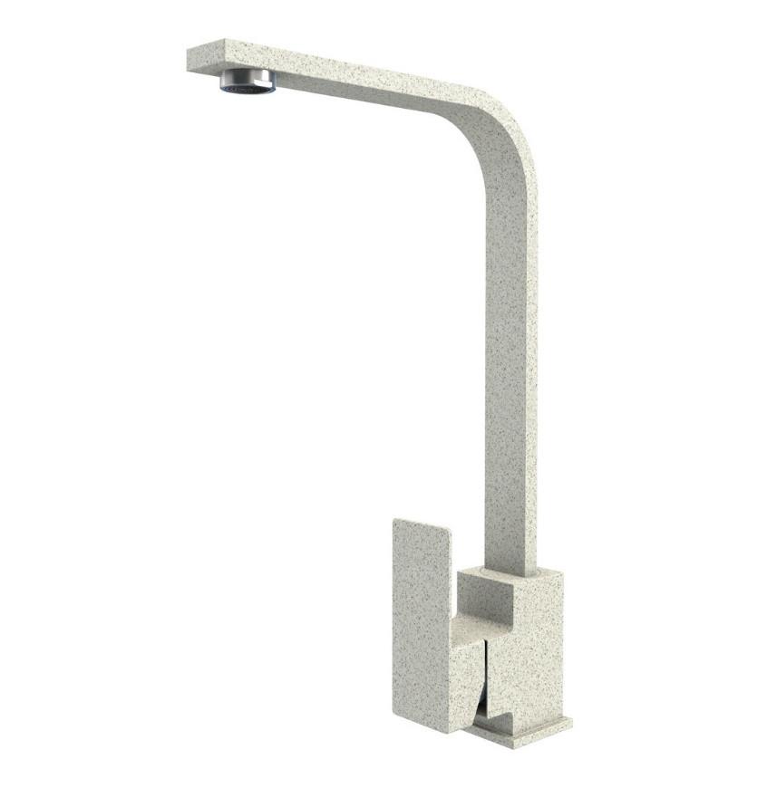Квадратный Г-образный гранитный белый смеситель для гранитной кухонной мойки AQUAMARIN BLADE 360 ТОПАЗ
