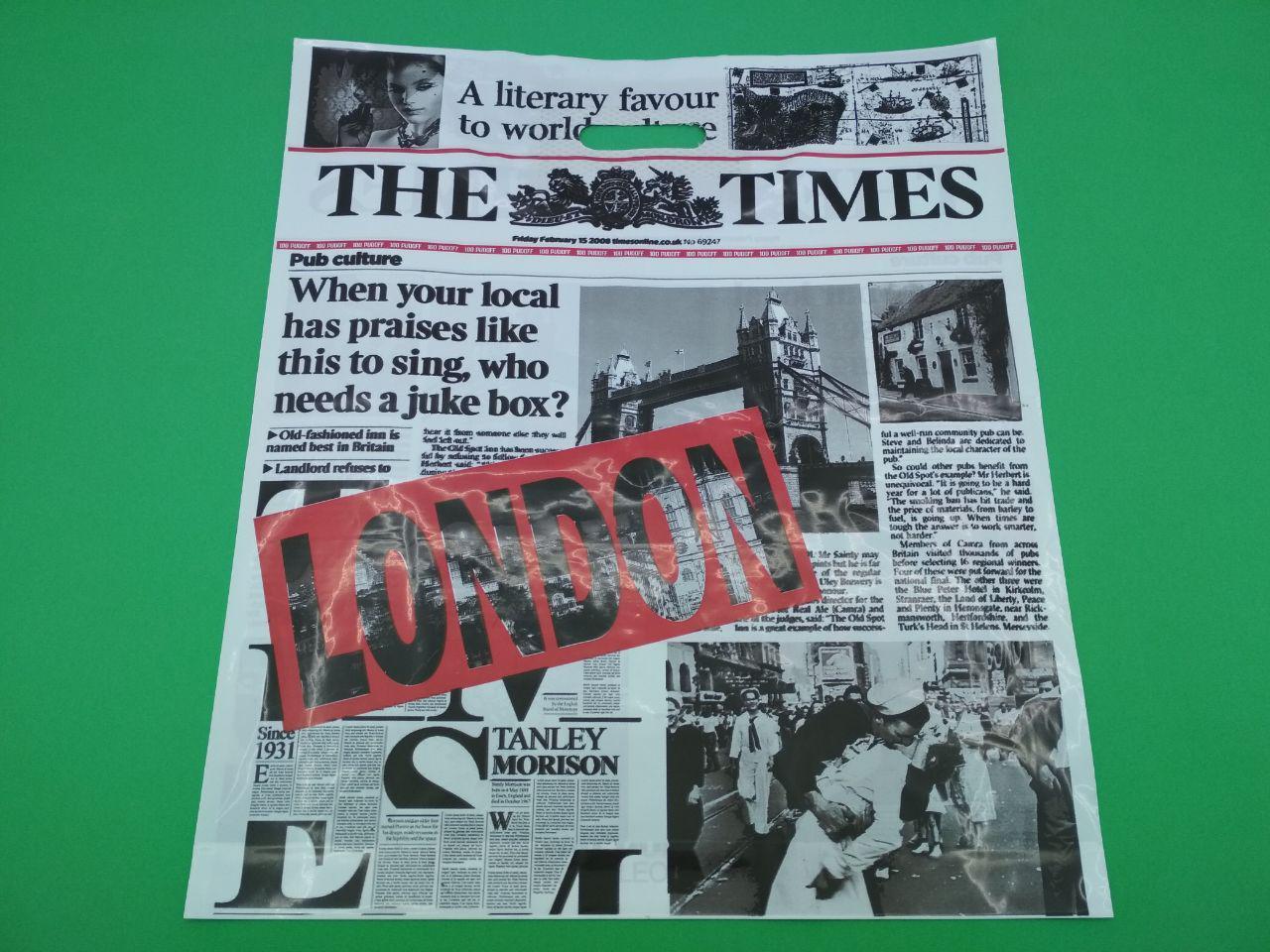 """Пакет с прорезной ручкой (42*52,5+3)""""Газета """"LONDON red"""" (50 шт)"""