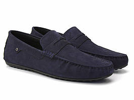 Мужские мокасины синее нубук обувь на широкую ногу ETHEREAL Classic Blu Nub by Rosso Avangard