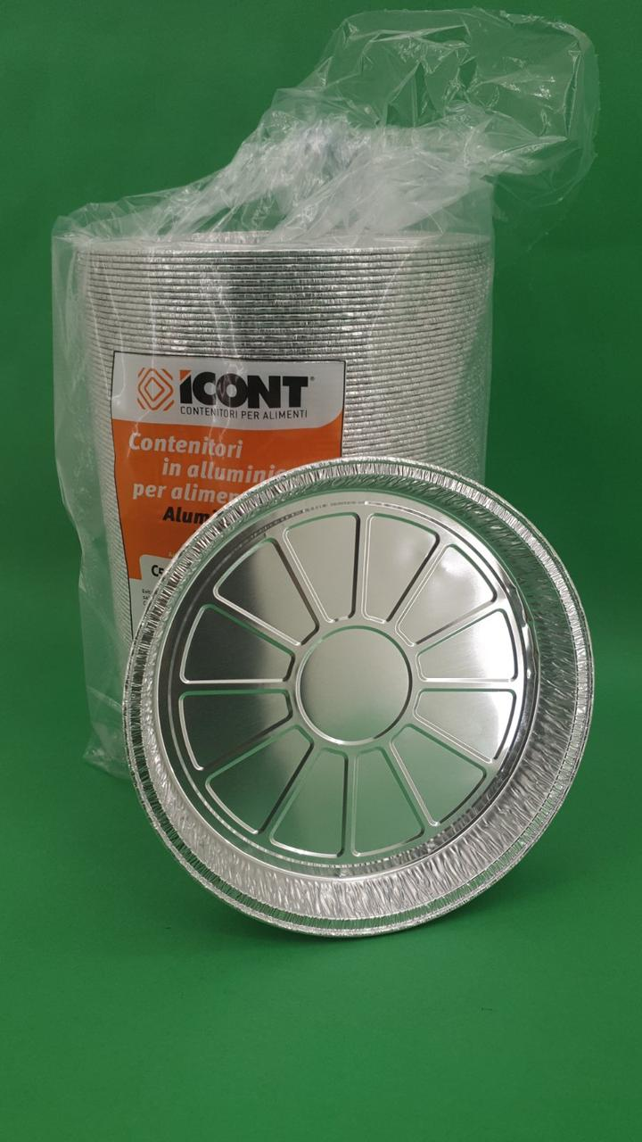 Алюмінієвий Контейнер круглий 100шт(T19G/ C5-26G) 600ml верх19.5/18,3 низ17 h2,5 (1 пач.)
