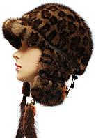 Меховая ушанка норковая  длинное ухо цвет леопард