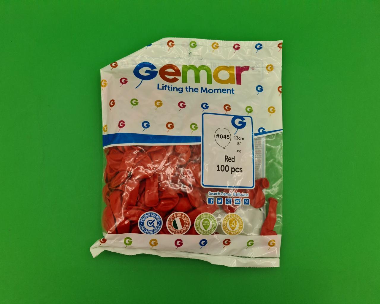 """Повітряні кульки пастель червоний 5"""" (13 см) 100 шт Gemar (1 пач.)"""