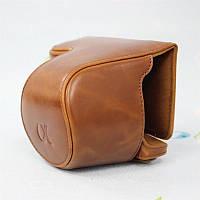 Защитный футляр - чехол для фотоаппаратов SONY A6000, A6300, A6500 - коричневый