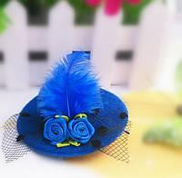 Заколка шляпка синяя