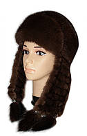 Модная зимняя шапка ушанка женская плетенное ухо Цвет орех