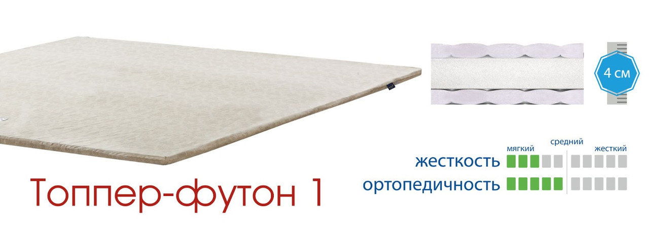Ортопедический беспружинный матрас Matroluxe / Матролюкс Topper-futon 1 / Топпер-футон 1 бязь / жаккард
