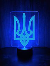 Акриловий світильник-нічник Тризуб синій tty-n000429
