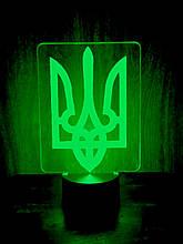 Акриловий світильник-нічник Тризуб зелений tty-n000430