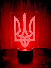 Акриловий світильник-нічник Тризуб червоний tty-n000431