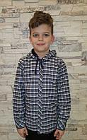 Рубашка на меху с капюшоном для мальчиков Клетка серая размеры: 128,140,152,164
