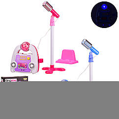 Муз.микрофон HK-8198B (6шт) 2 цвета, на стойке,звук,свет,в кор. 30*11*47.5 см, р-р игрушки – 20*20*8