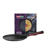 Сковорода для блинов чугунная Brizoll Бризоль с ручкой Optima-Bordo 240х15 мм диаметр 24 см 1,36 кг O2415-P2, фото 3