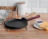 Сковорода для блинов чугунная Brizoll Бризоль с ручкой Optima-Bordo 240х15 мм диаметр 24 см 1,36 кг O2415-P2, фото 4