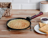 Сковорода для блинов чугунная Brizoll Бризоль с ручкой Optima-Bordo 240х15 мм диаметр 24 см 1,36 кг O2415-P2, фото 6