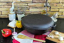 Чавунна сковорода WOK, 8 л, з кришкою-сковородою