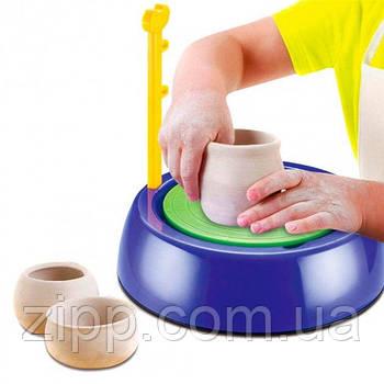 Дитячий гончарний набір з глиною Pottery Wheel | Гончарний круг | Дитячий набір для творчості | Набір ліплення