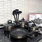 Набір каструль TK00082 мармуровим покриттям   Набір посуду   Каструлі з кришками   Набір посуду мармурової, фото 3