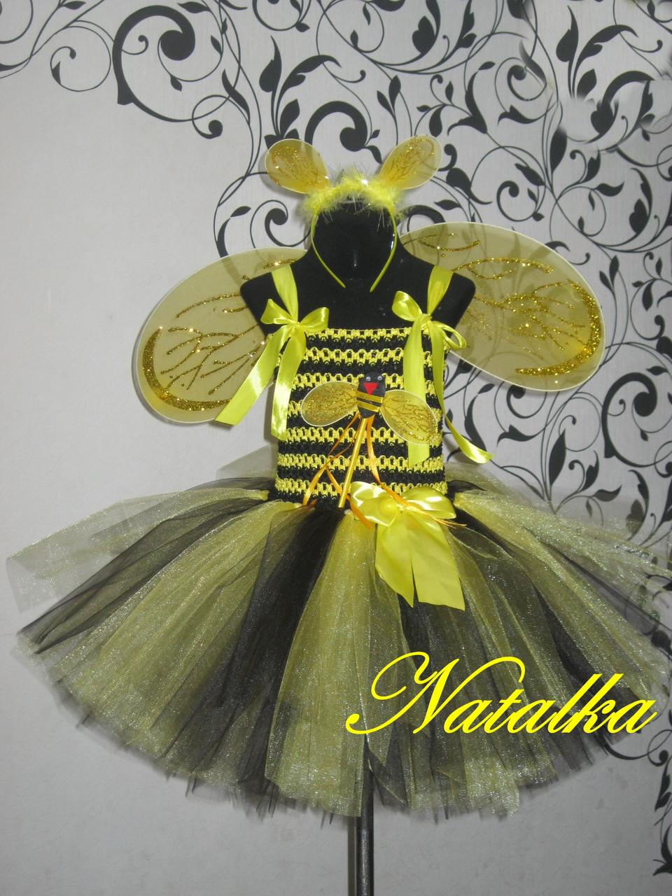 """Карнавальная юбка-платье туту из фатина """"Пчёлка"""""""