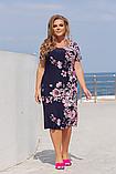 Легке літнє жіноче плаття великого розміру, короткий рукав, плаття, тканина масло, 52, 54, 56, 58 Темно-синє, фото 2