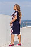 Легке літнє жіноче плаття великого розміру, короткий рукав, плаття, тканина масло, 52, 54, 56, 58 Темно-синє, фото 4