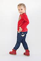 Стильные джинсы для девочки с вставками из золотистой кожи, фото 1