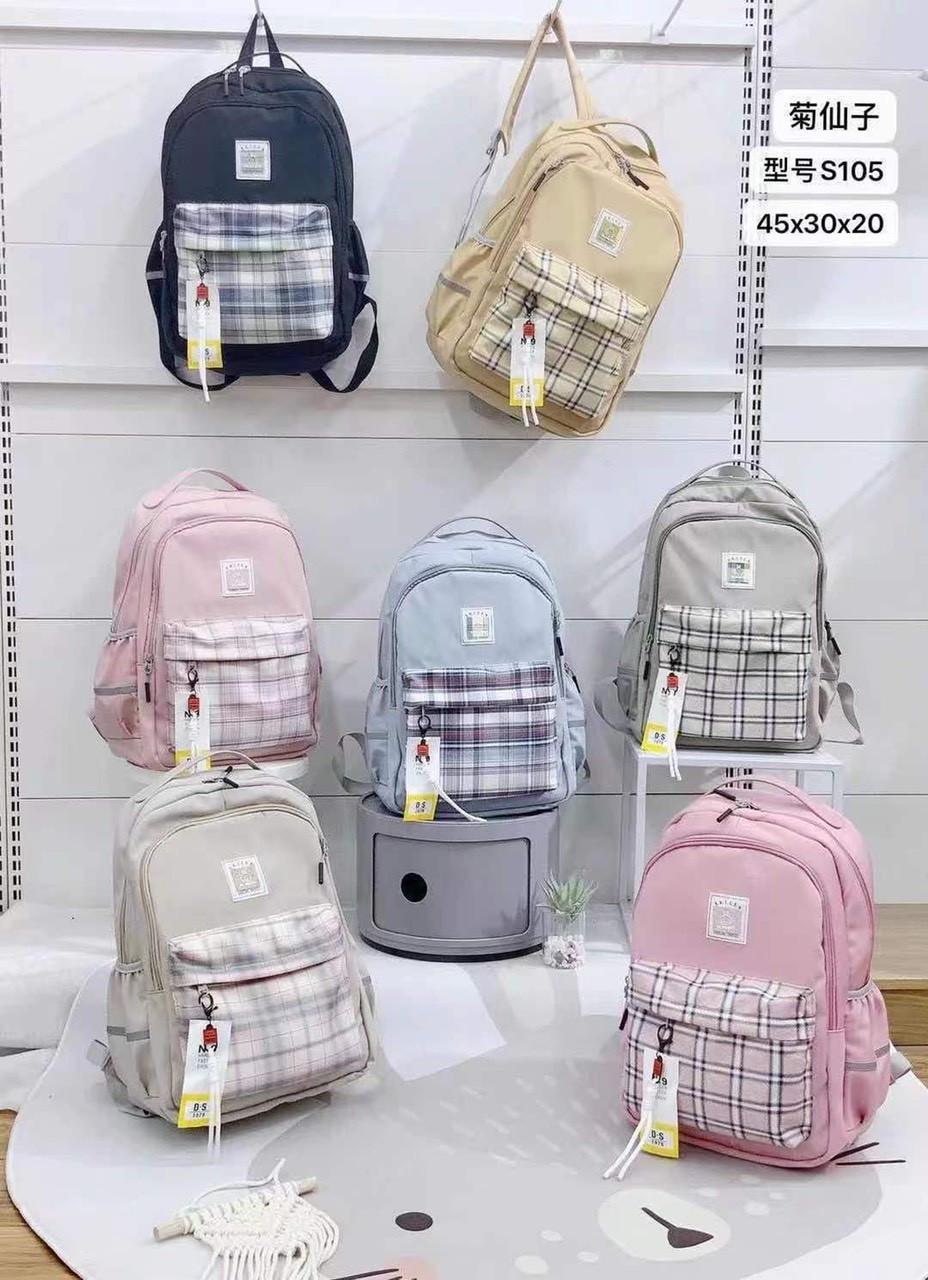 Рюкзак подростковый городской модный в клетку тканевый в разных цветах 45*30 см Mark