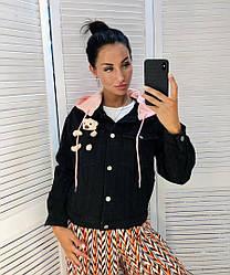 Женская джинсовая куртка на пуговицах с капюшоном