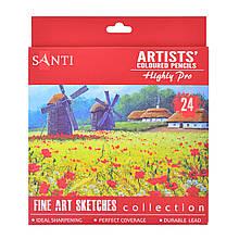 """Набір художніх кольорових олівців """"Santi Highly Pro"""", 24 шт"""