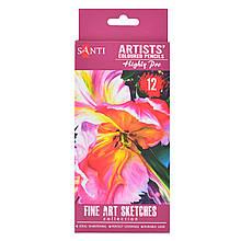 """Набір художніх кольорових олівців """"Santi Highly Pro"""", 12 шт"""