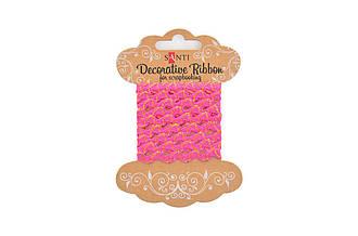 """Декоративна стрічка """"Хвиля рожева з золотою ниткою"""", 2м"""