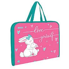 """Папка-портфель 1Вересня на блискавці з тканинними ручками """"Bunny"""""""