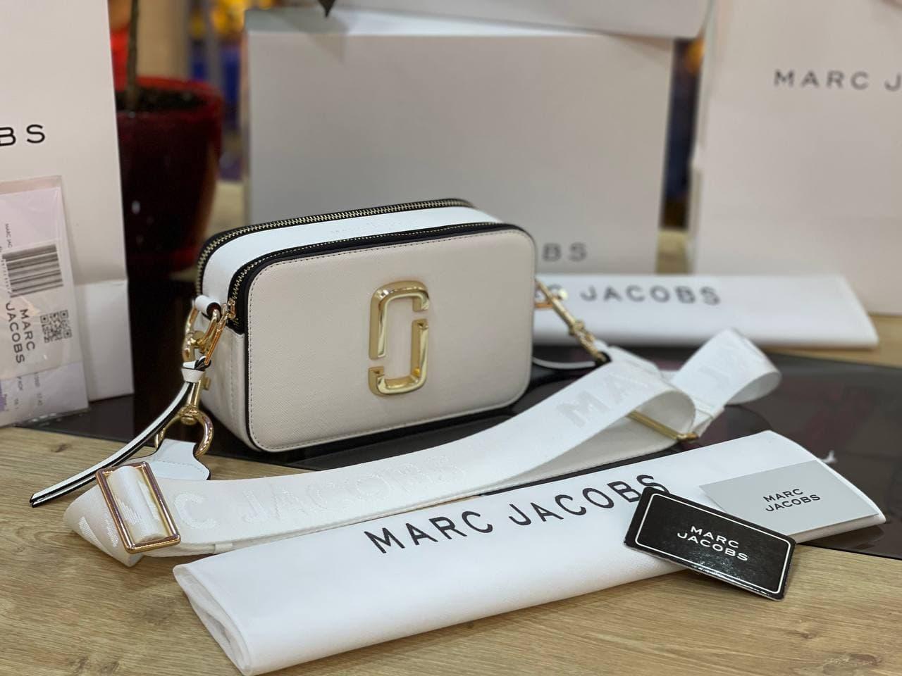 "Сумка Marc Jacobs Snapshot White/Gold LOGO ""Біла"""