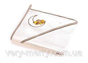 Дитячий махровий рушник з куточком Sensillo Ведмедик Ecru